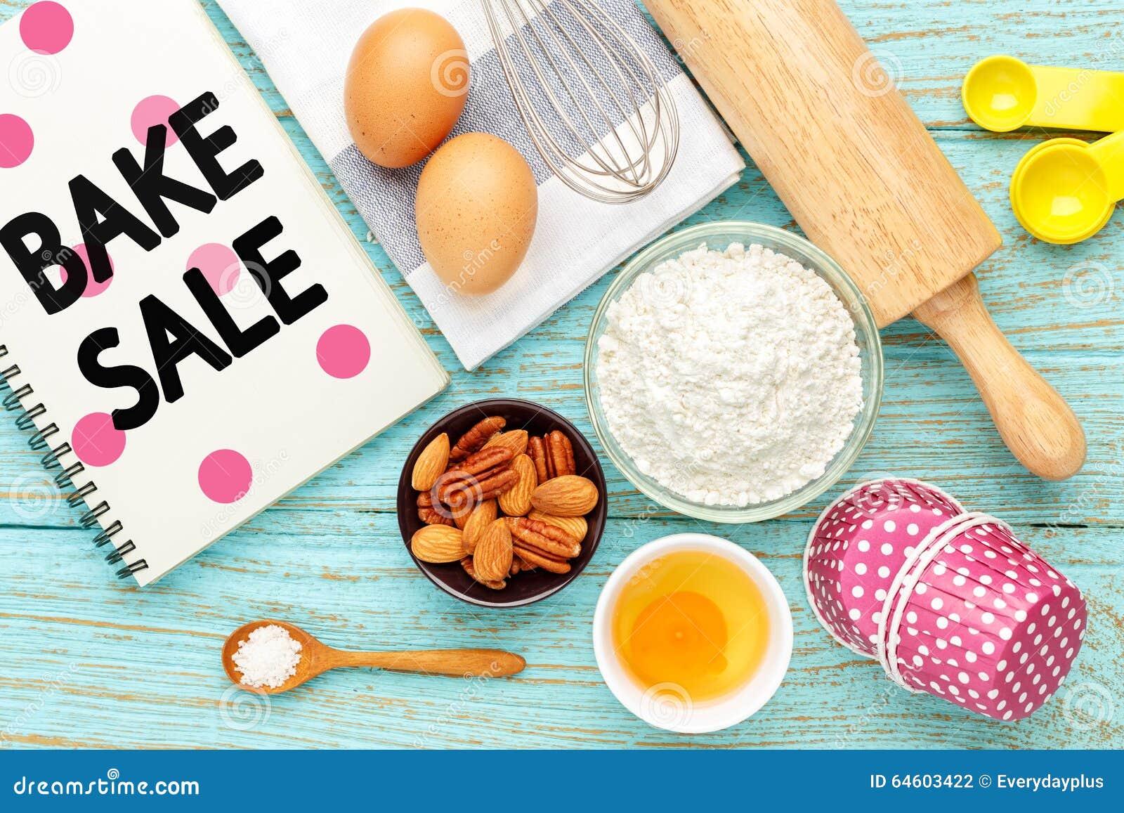 bake sale with baking ingredients stock photo - image of kitchen