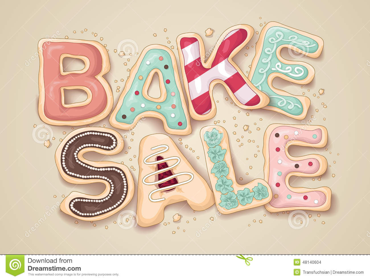 Bake Sale Cookie Letter Illustration Stock Vector Illustration Of
