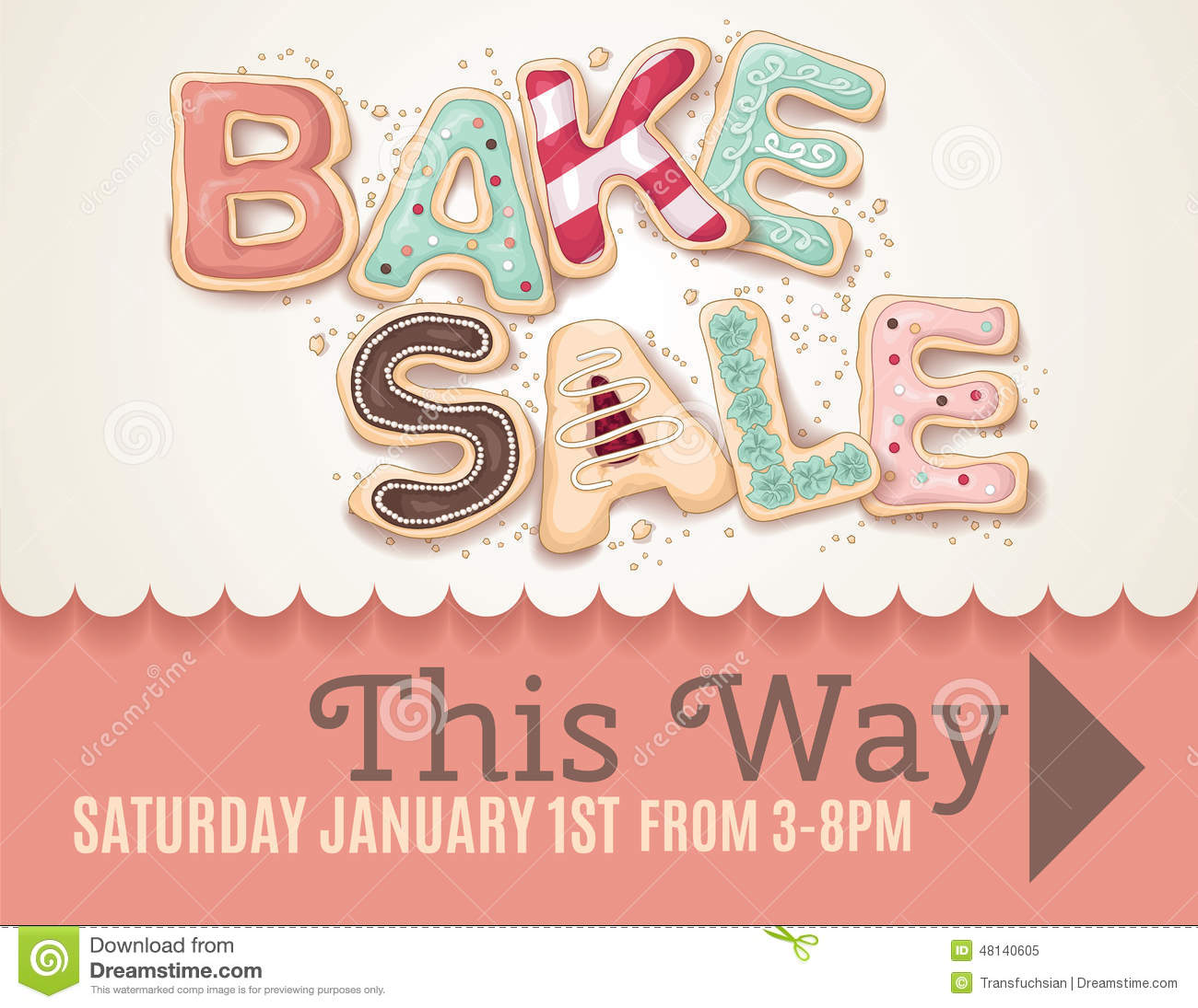 Valentines Day Bake Sale Flyer Template Stock Vector Illustration