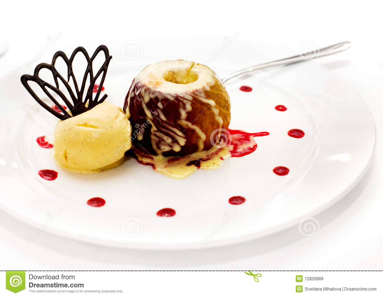 Baked Apple With Ice Cream Royalty Free Stock Images - Image: 12826889