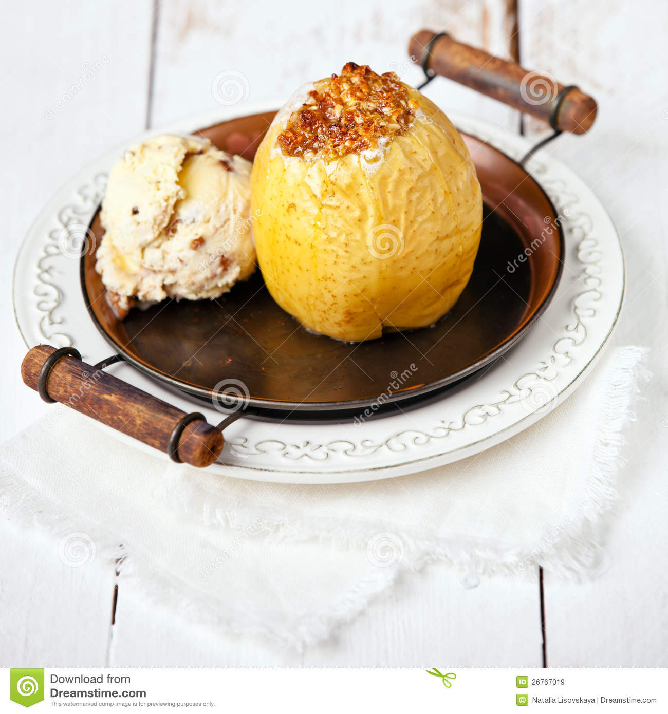 Baked Apple With Vanilla Ice Cream Royalty Free Stock ...