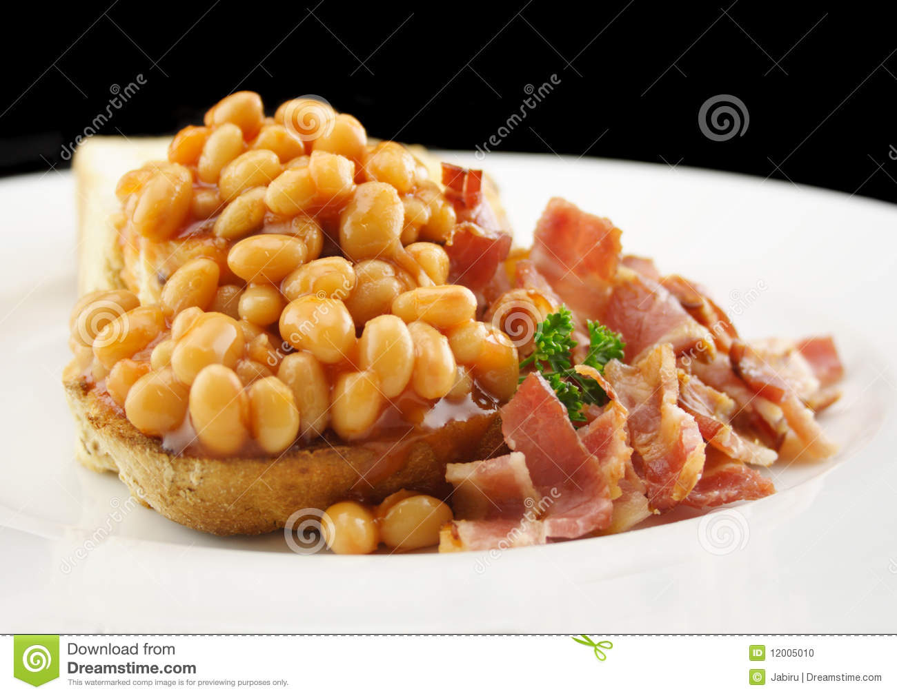 Baked Beans And Bacon On Toast Stock Photo - Image: 12005010