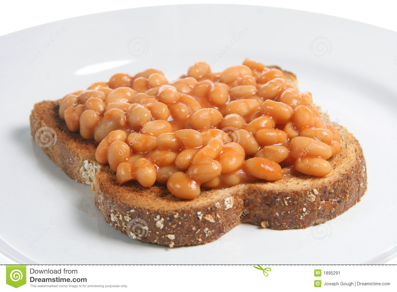 Baked beans in tomato sauce on a slice of wholemeal toast.