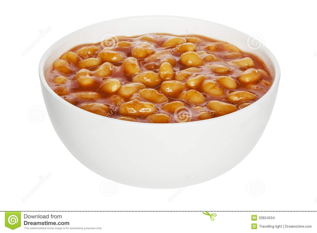 Baked Beans in a white china bowl, front to back focus, clipping path.