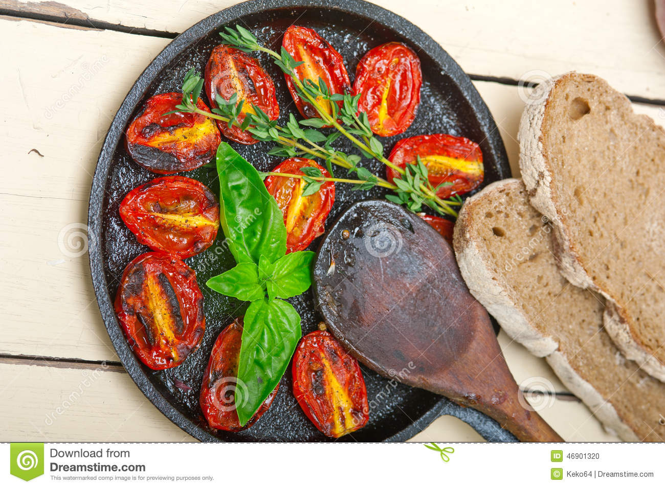 Baked Cherry Tomatoes With Basil And Thyme Stock Photo - Image ...
