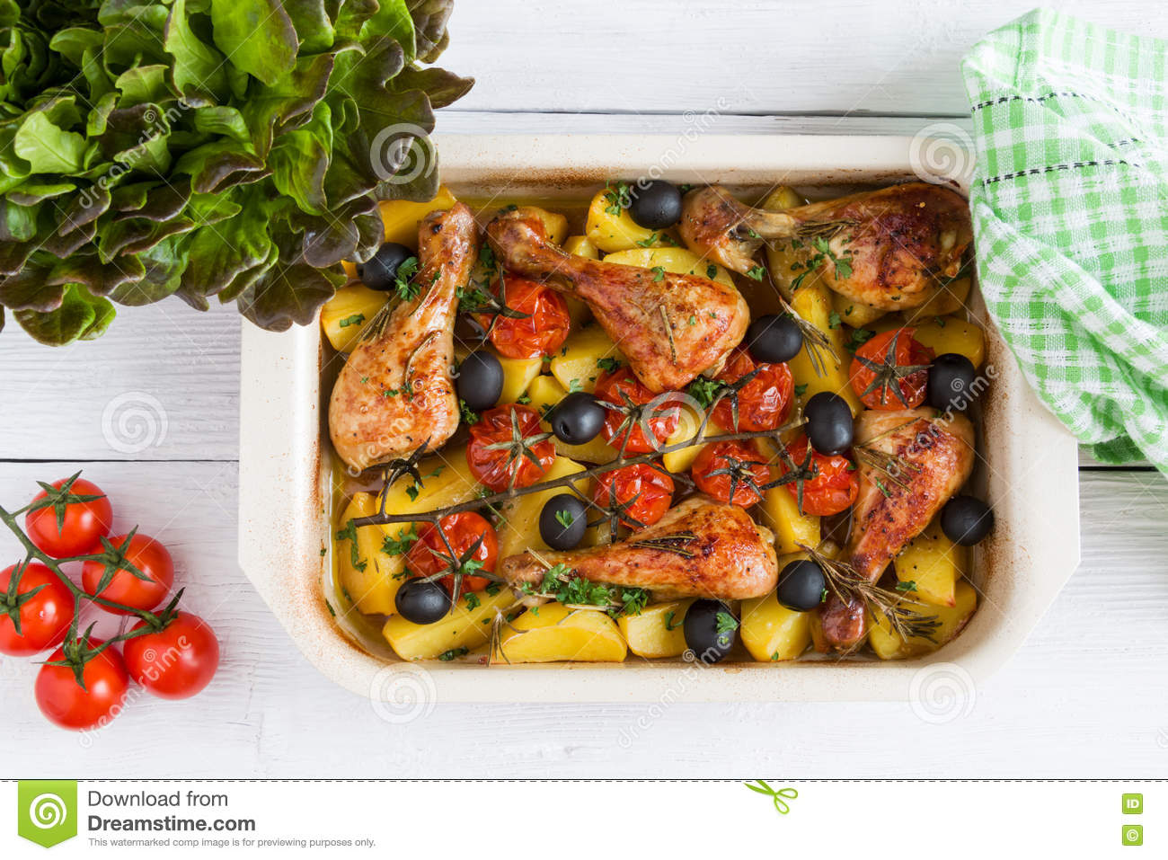 Rosemary Chicken Drumsticks And Potatoes Stock Photo ...