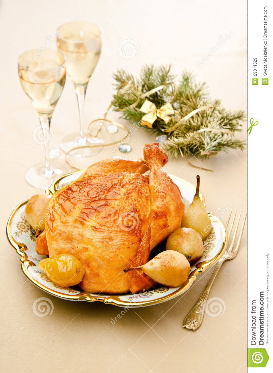 Baked Chicken With Pears Stock Photos - Image: 29811323