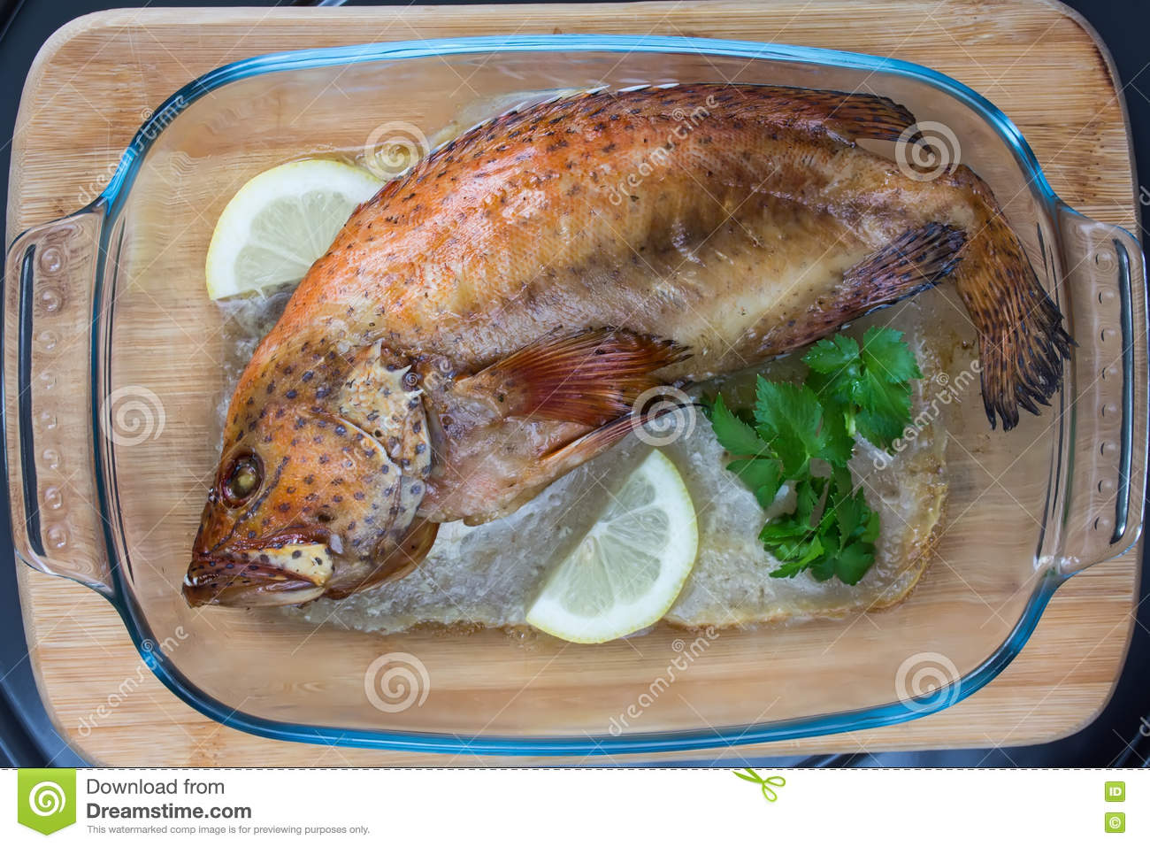 Baked Coral Grouper With Lemon And ...