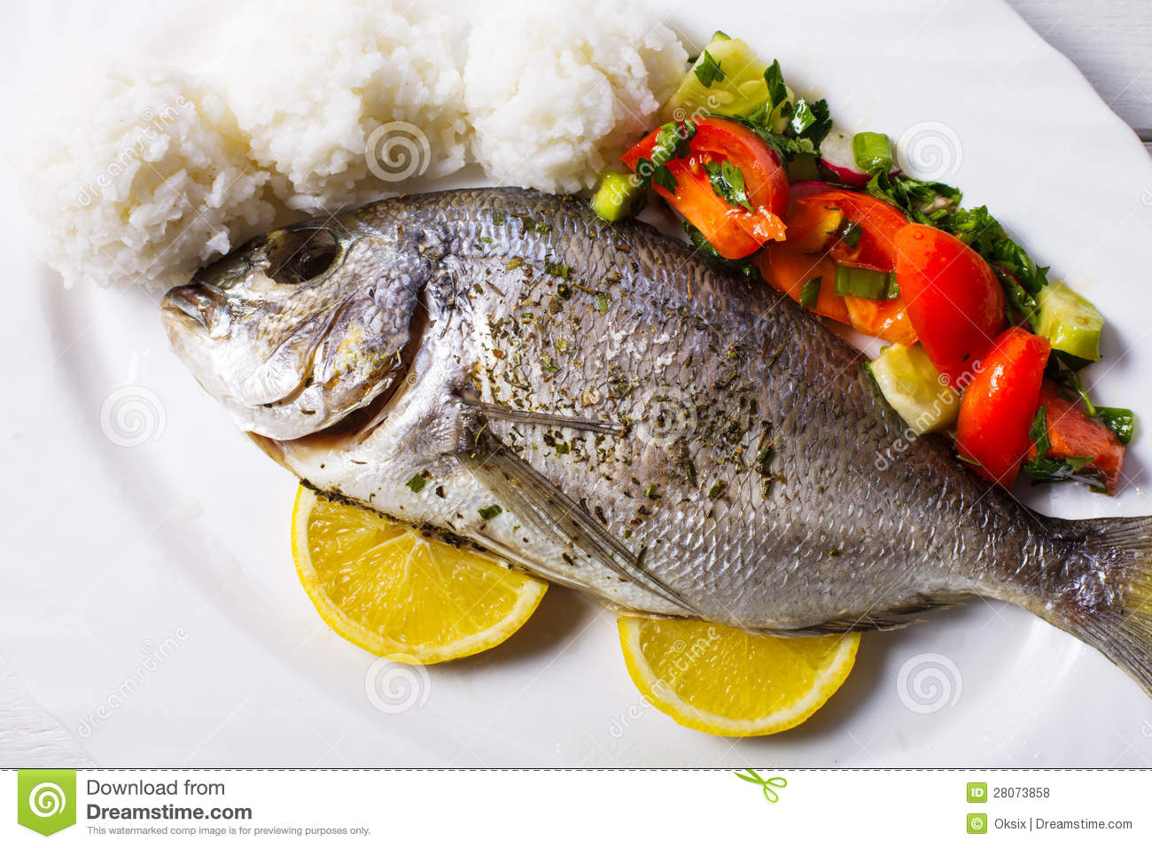 Baked dorado fish stock photo image of baked golden for Baked fish and rice