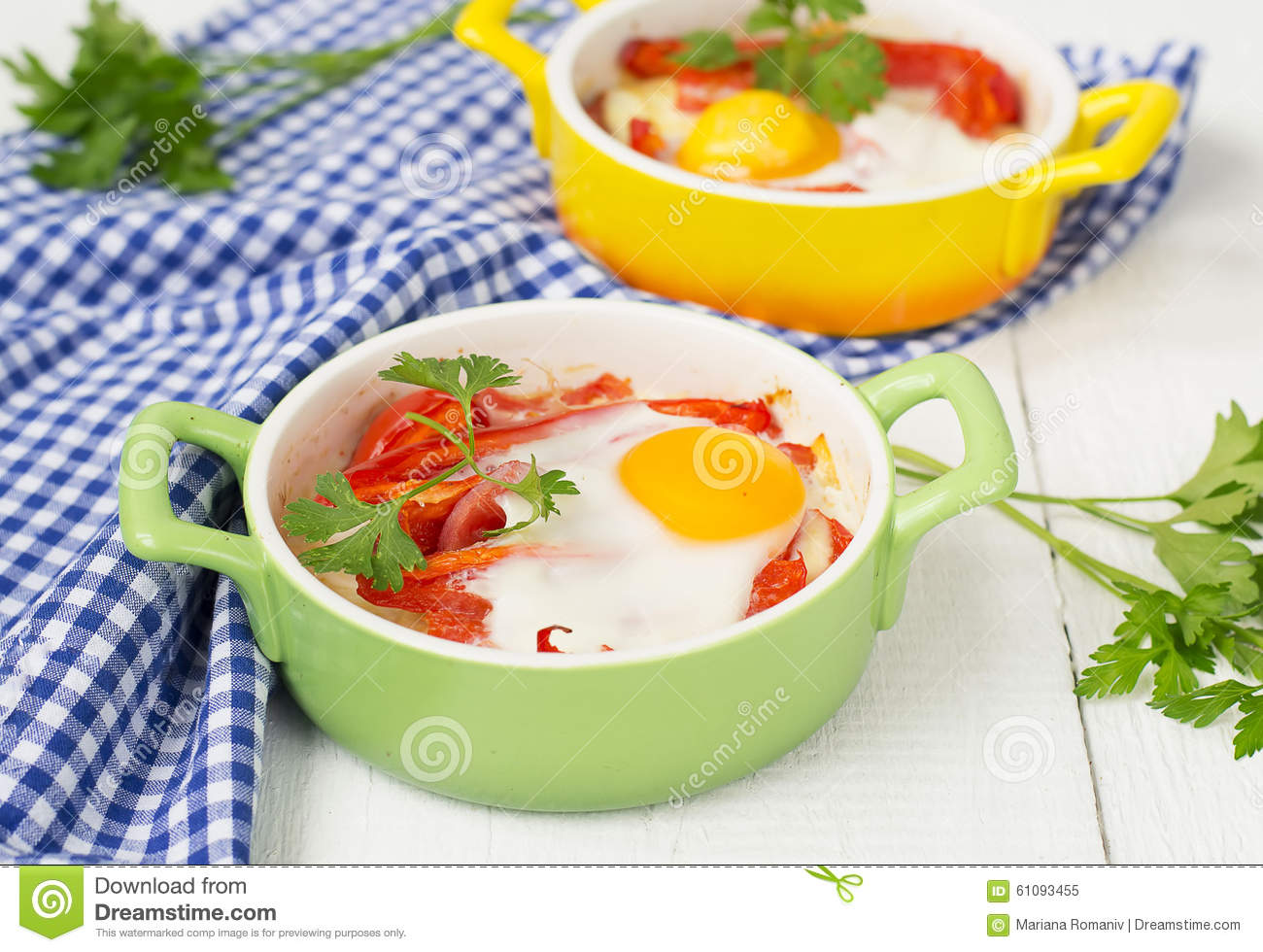 Baked Eggs With Cheese, Tomatoes And Peppers. Stock Photo - Image ...
