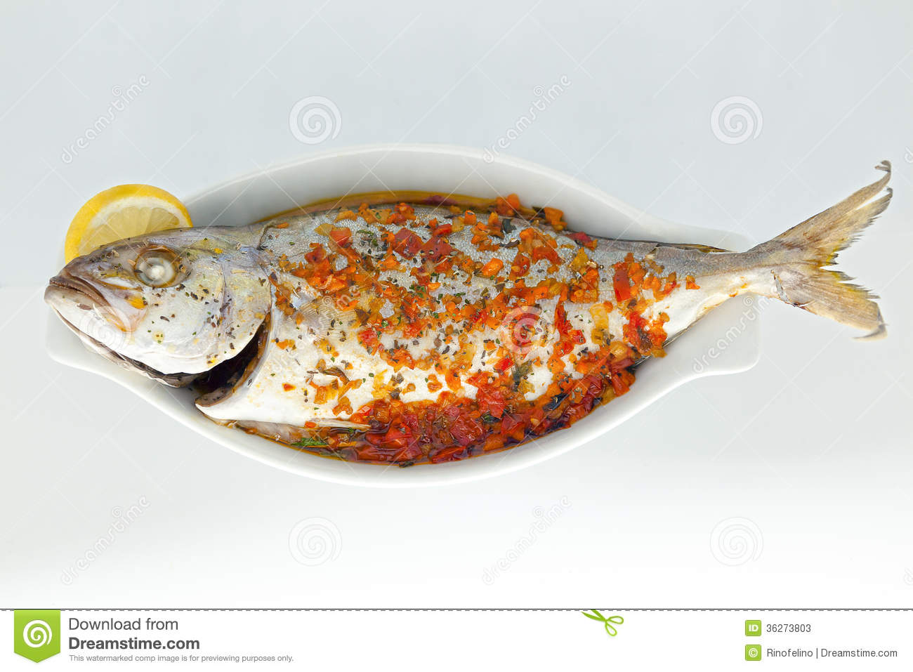 Baked fish stock photos image 36273803 for Temperature to bake fish