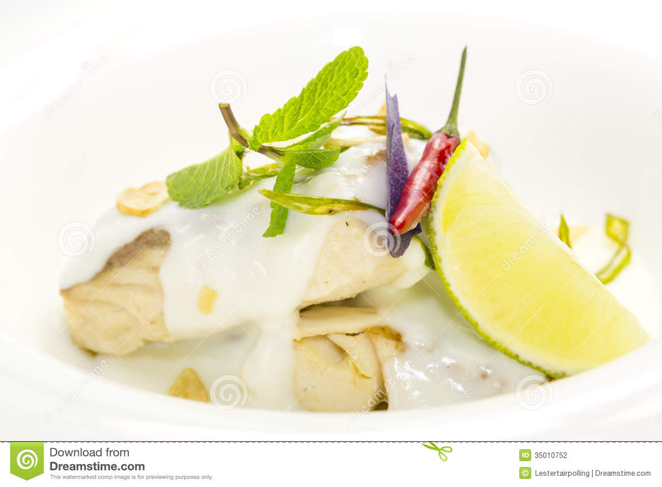 Baked fish stock photography image 35010752 for Lemon cream sauce for fish