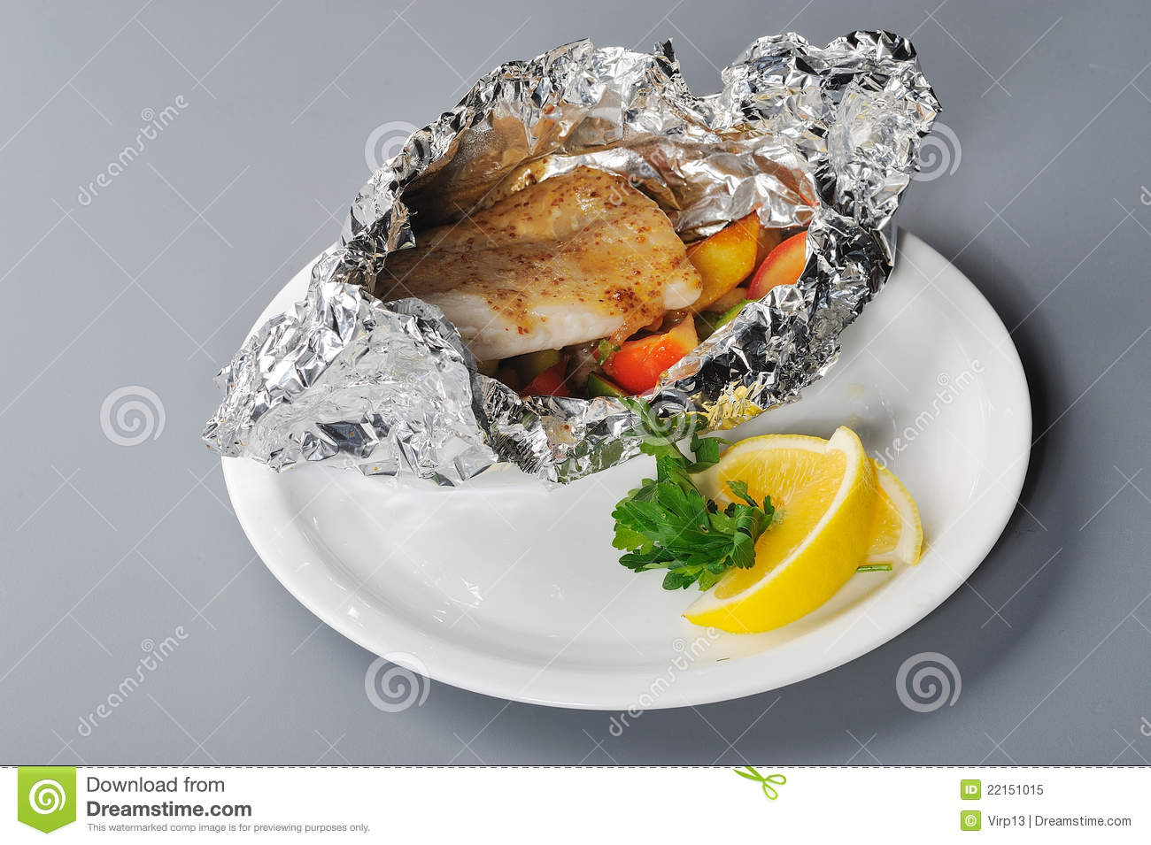 Royalty free stock photo baked fish in foil