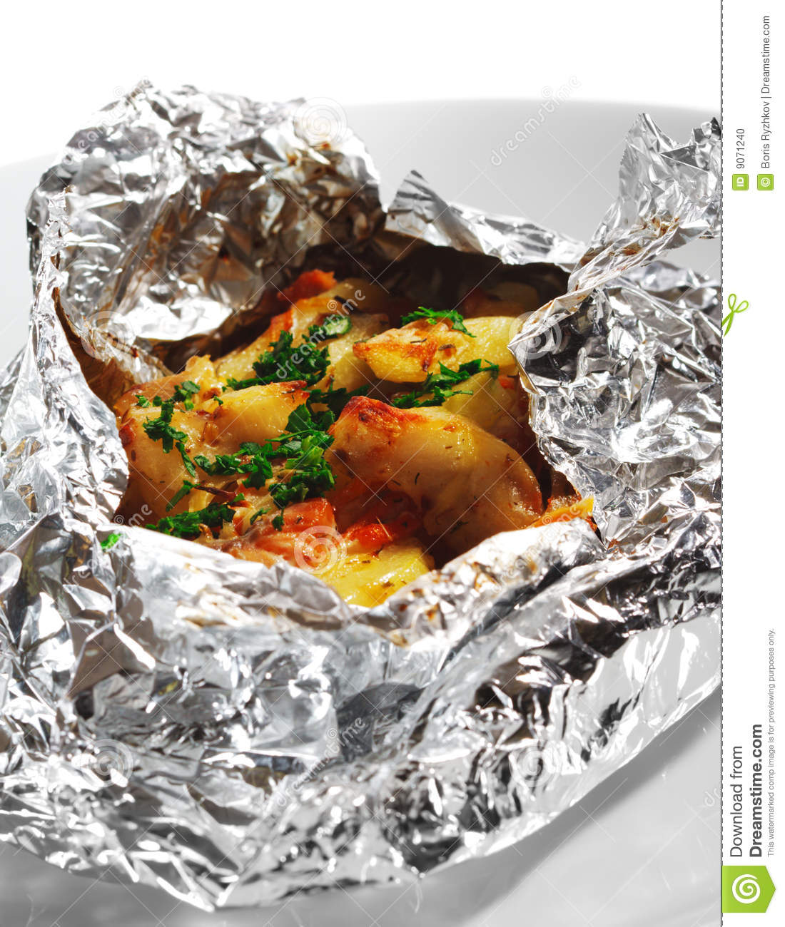 Baked Fish In Foil Stock Photo Image 9071240