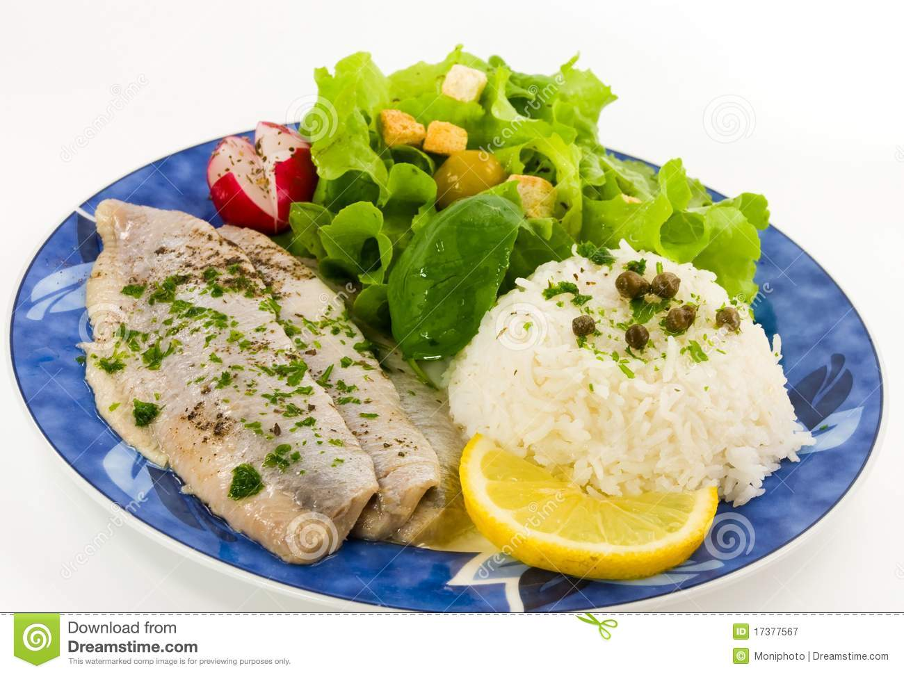 Fish salad with potatoes and rice for Fish and salad