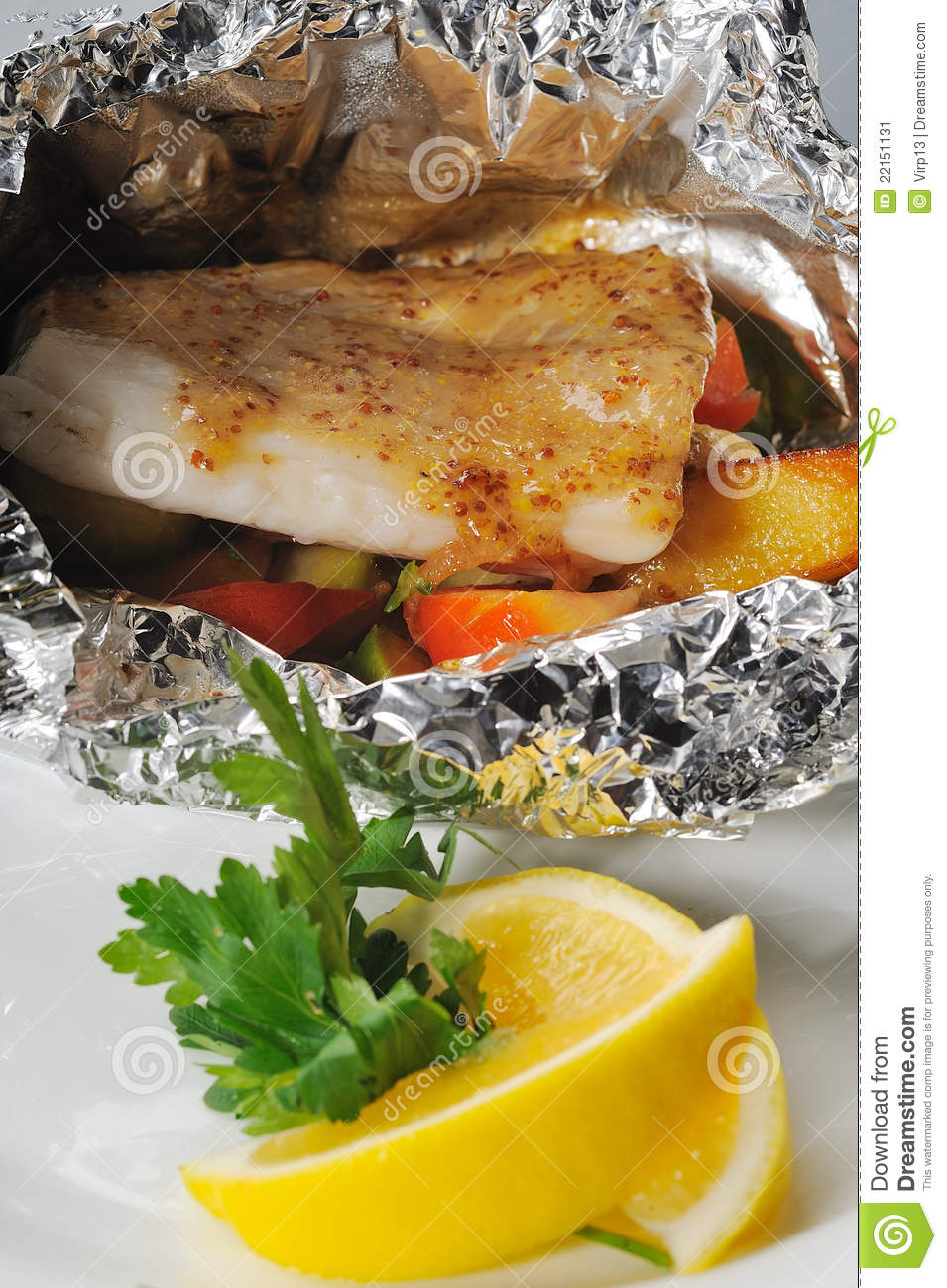 Baked fish in sauce stock image image of parsley dish for Sauce for baked fish