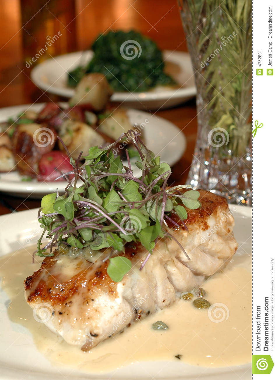 Baked fish and sides stock image image 4752891 for What sides go with fish