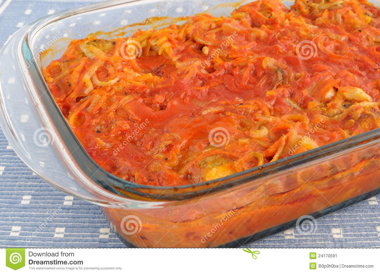 Baked fish in tomato sauce with vegetables stock image for Sauce for baked fish