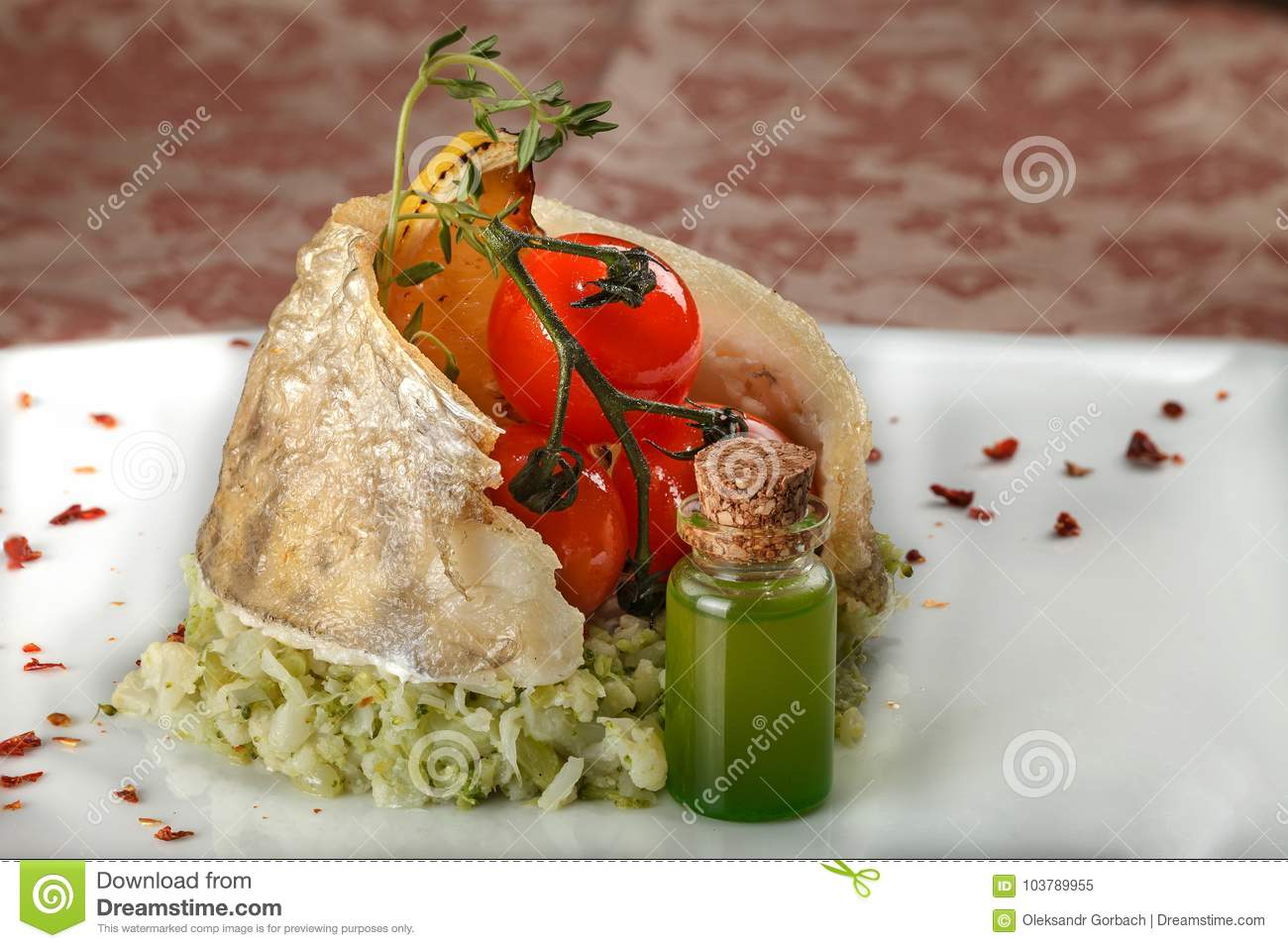 Fish dish with vegetable side salad stock photography for Side dishes for baked fish