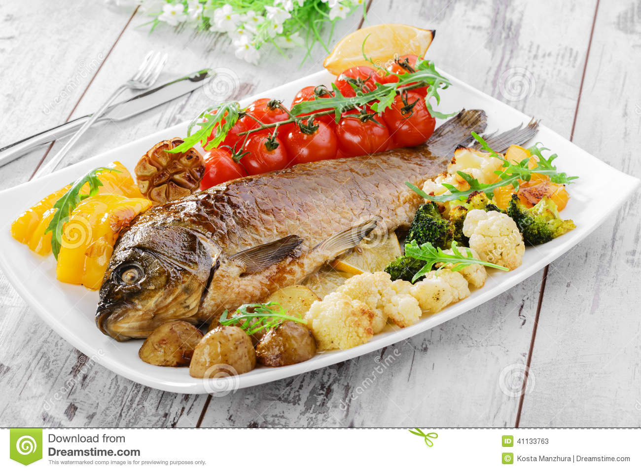 Baked fish with vegetables stock photo image 41133763 for What vegetables go with fish