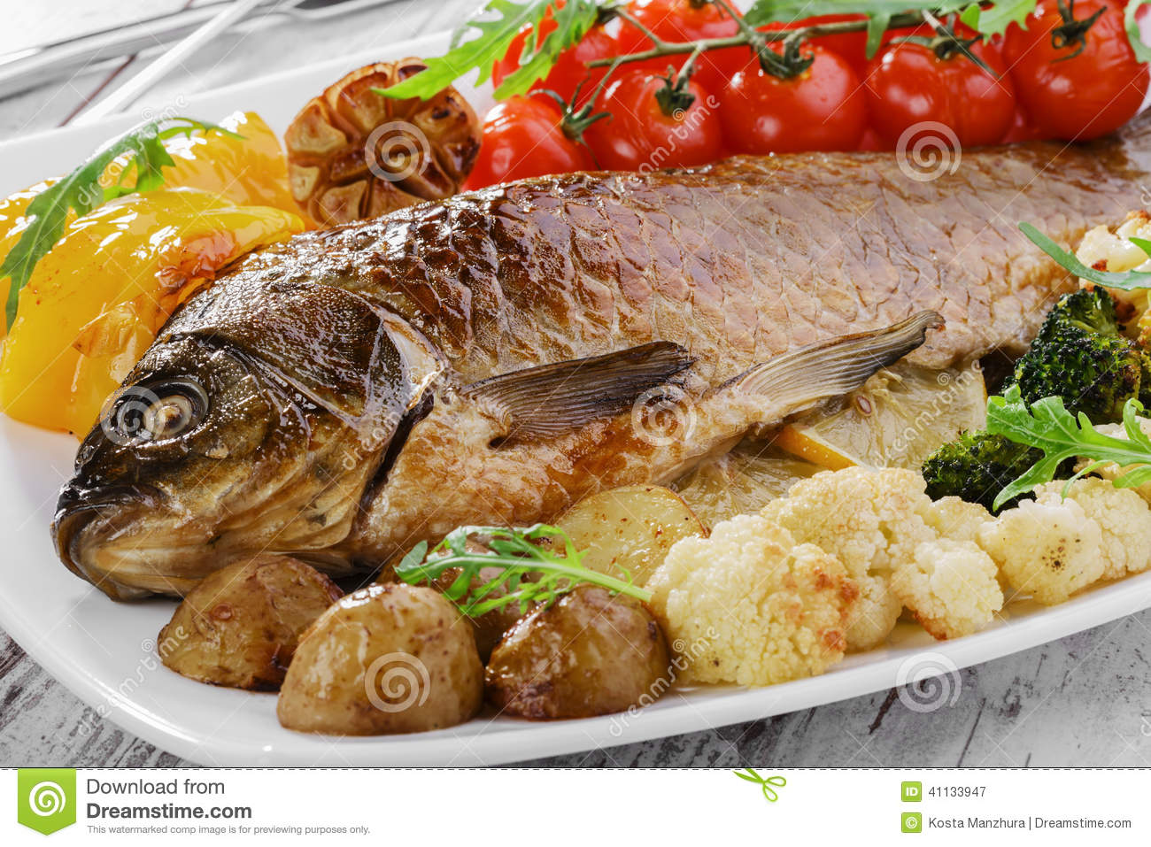 Baked fish with vegetables stock photo image 41133947 for What vegetables go with fish