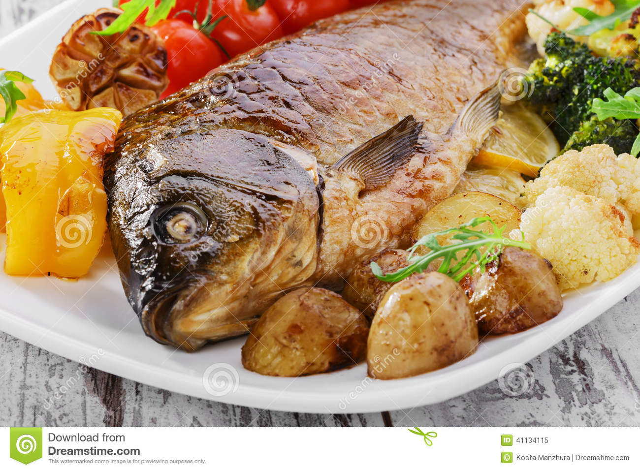 Baked fish with vegetables stock photo image 41134115 for What vegetables go with fish