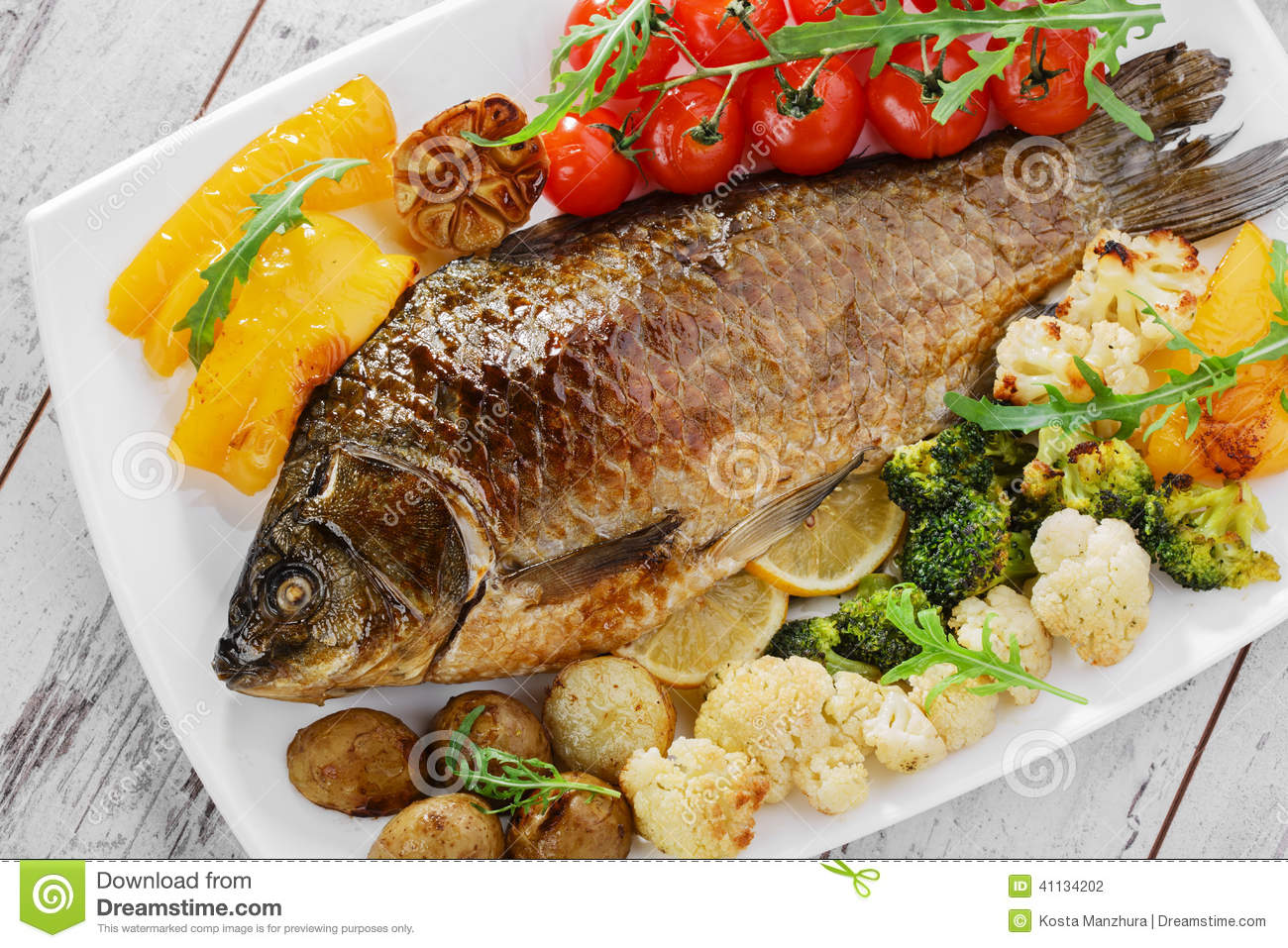 Baked fish with vegetables stock photo image 41134202 for What vegetables go with fish