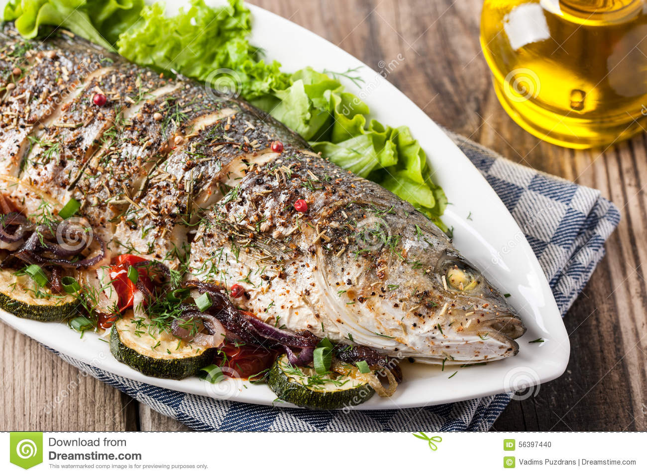 Baked fish with vegetables stock photo image 56397440 for What vegetables go with fish