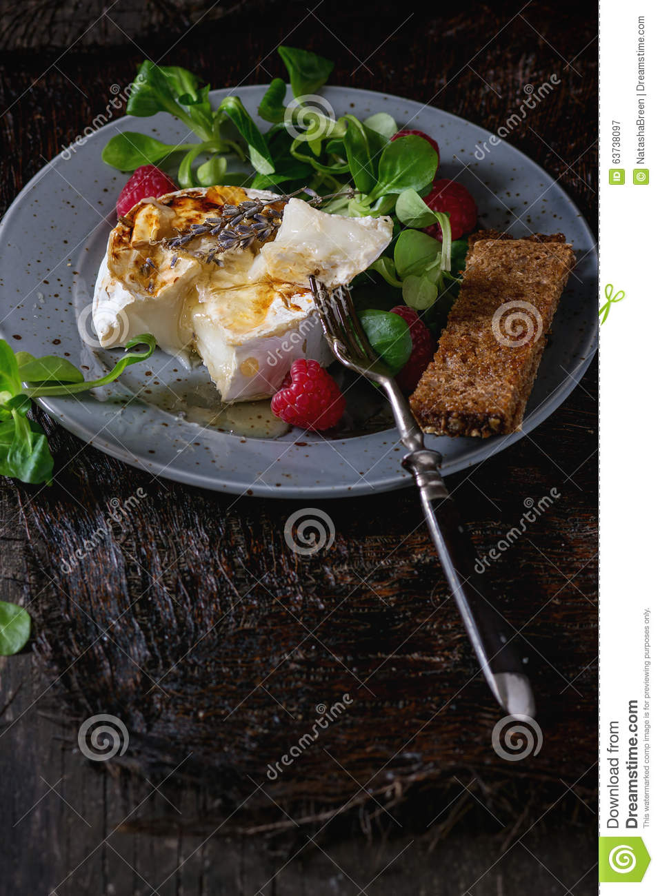 Baked Goat Cheese With Raspberries And Thyme Recipe — Dishmaps