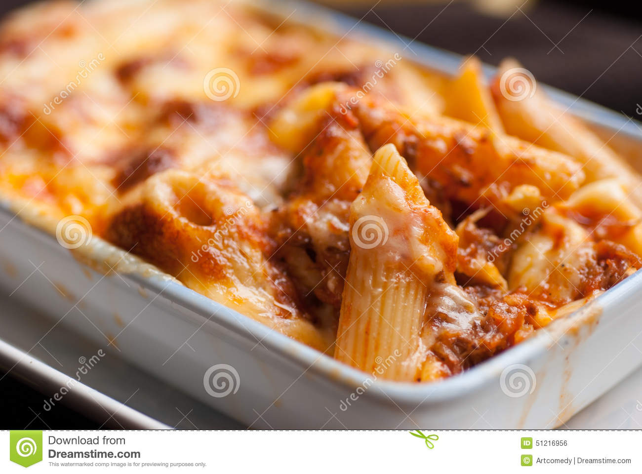Baked Penne Pasta With Tomato Sauce And Cheese Stock Photo ...
