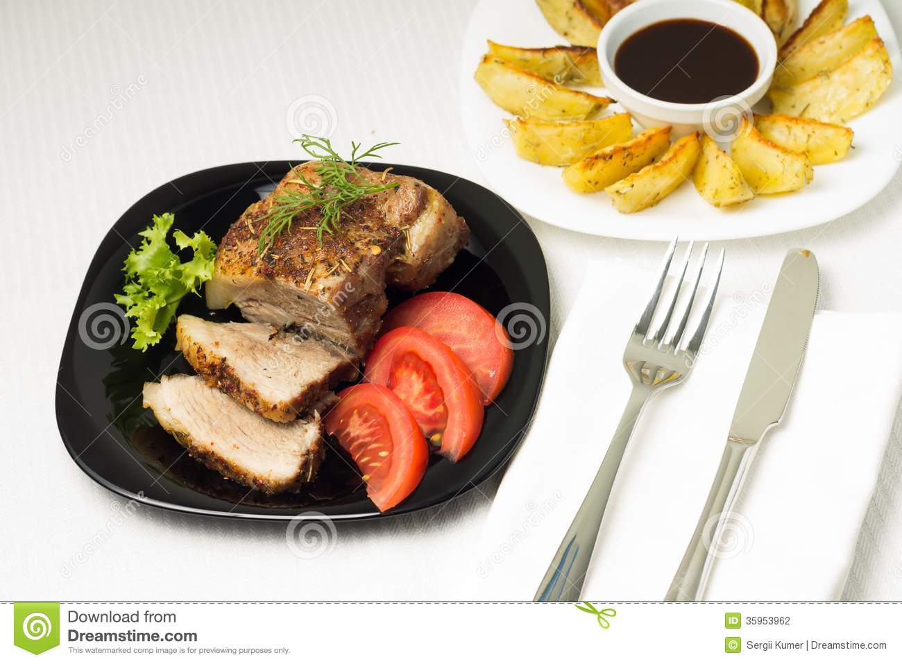 Baked pork meat served with grilled potato stock photography image 35953962 - Make lamb barbecue ...