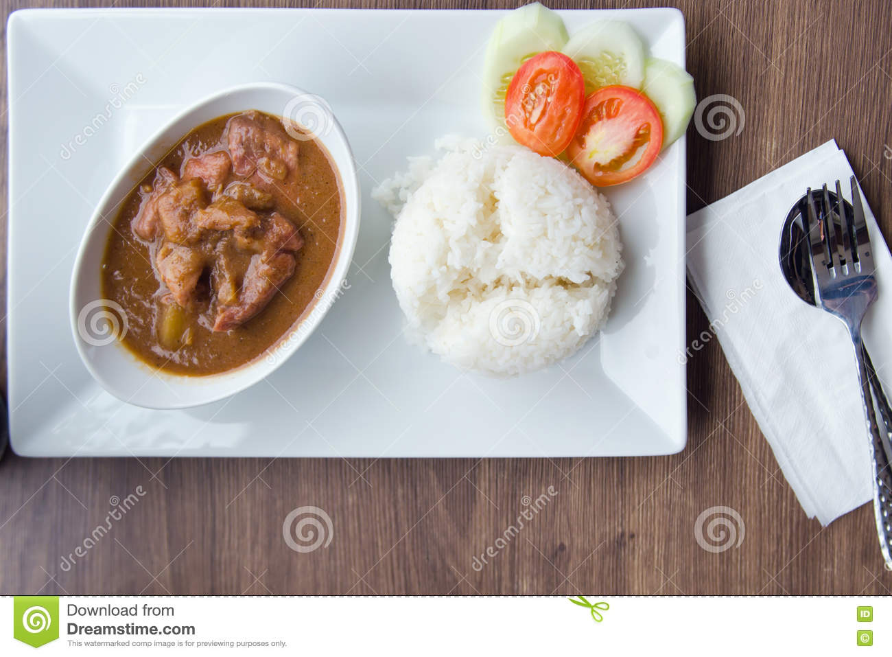 Baked Pork With Pineapple Served With Rice And Decorated