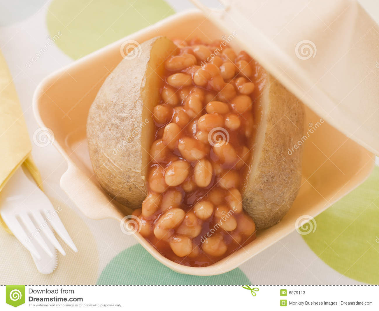 Baked Potato With Baked Beans And Cheese Stock Image Image Of