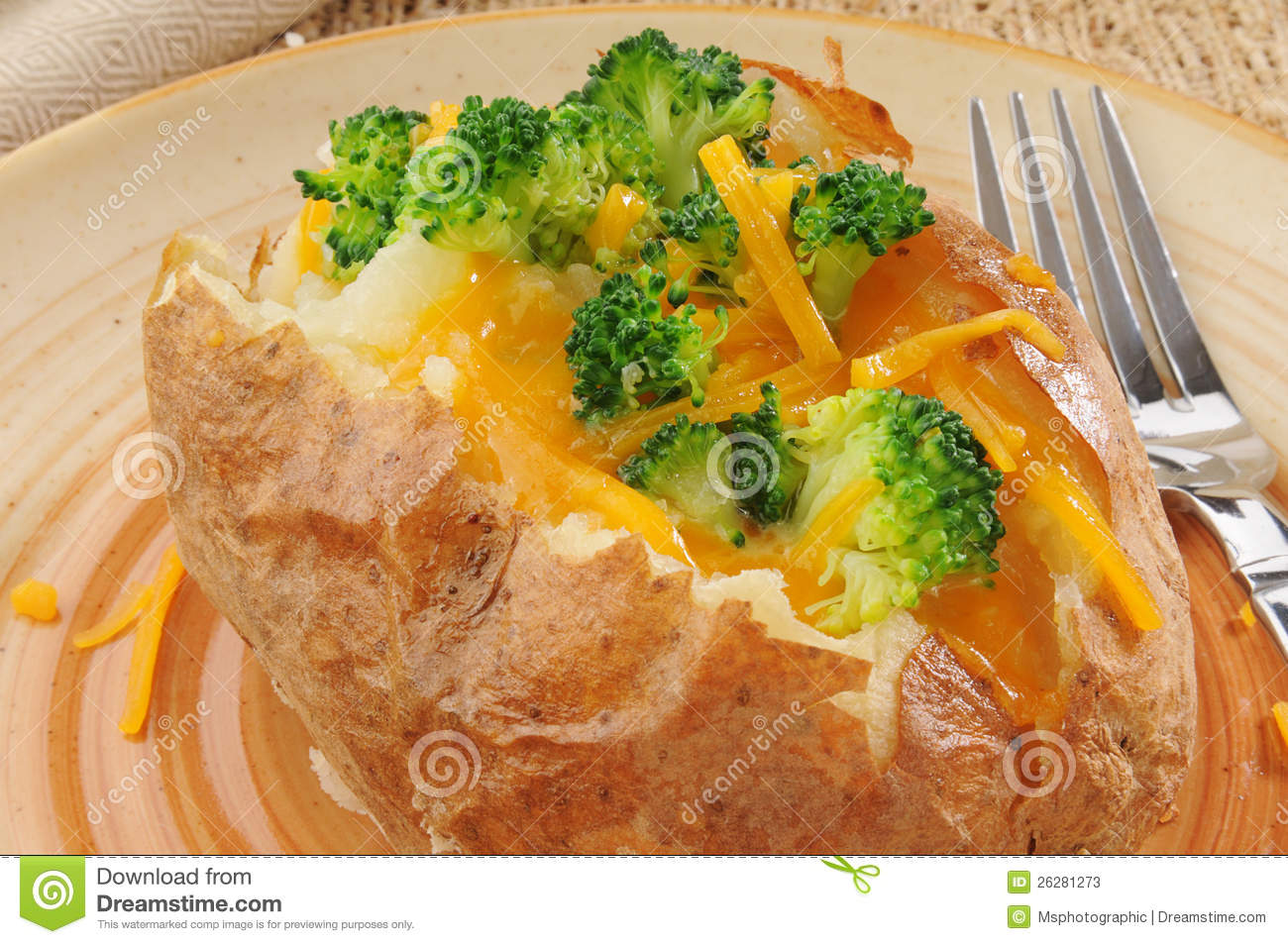Baked Potato With Broccoli And Cheese Stock Photos - Image: 26281273