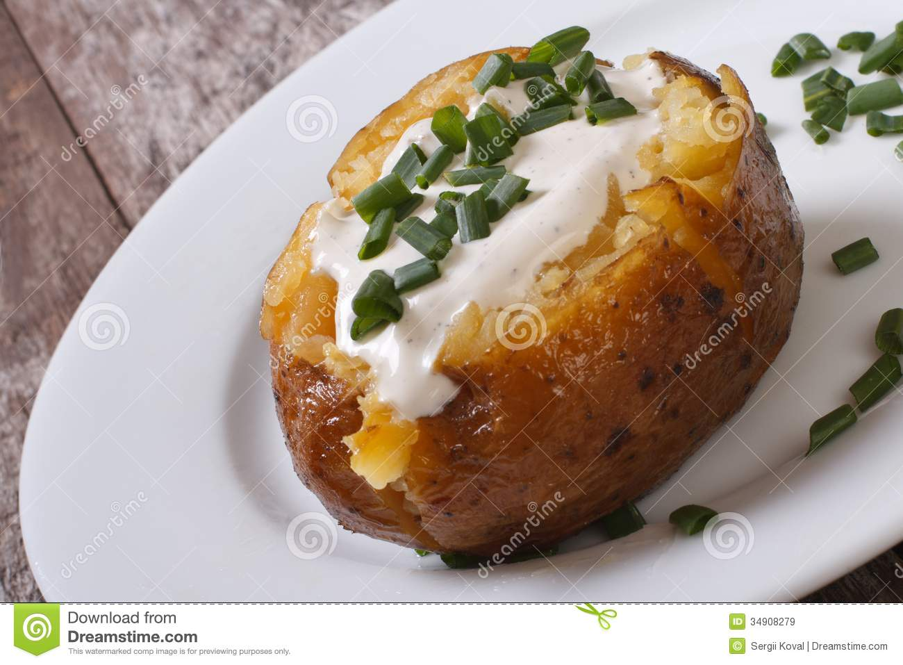 Baked Potato With Sour Cream Royalty Free Stock Images ...