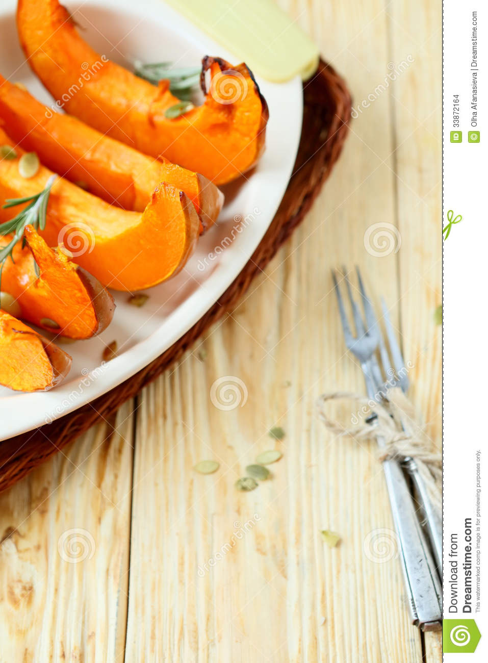 Baked Pumpkin Slices In A Baking Dish Stock Images - Image: 33872164