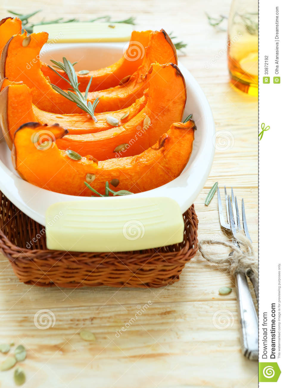 Baked Pumpkin Wedges In A Baking Dish Stock Photography - Image ...