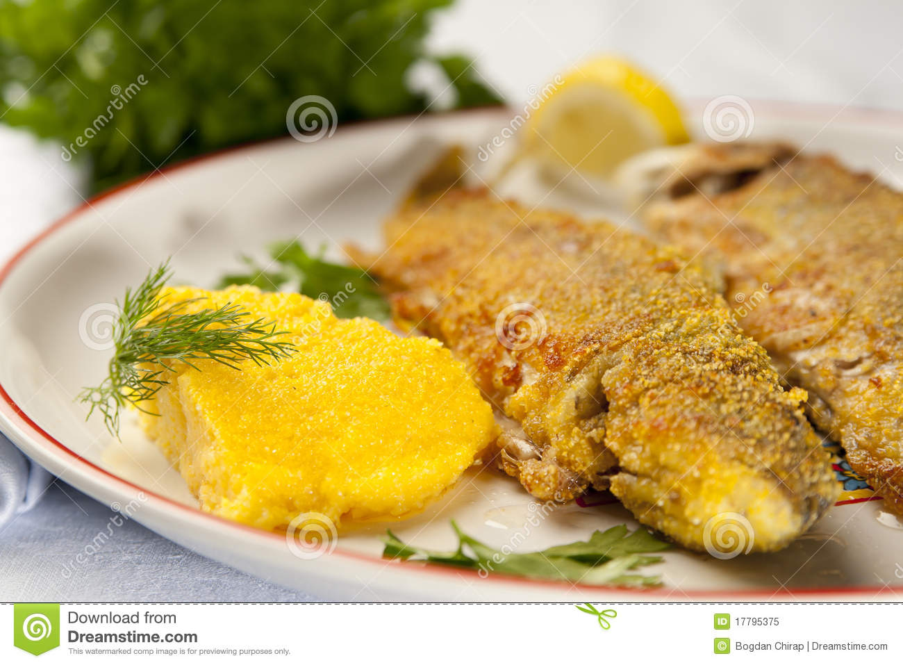 Baked rainbow trout with polenta