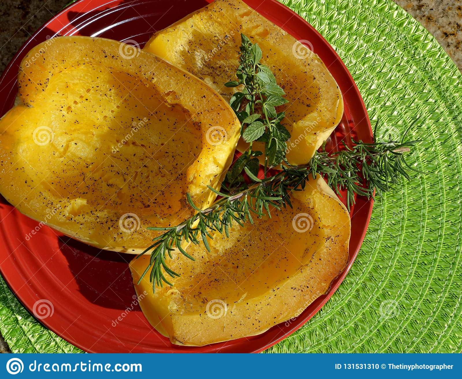 ff98f2f839a Baked Spaghetti Squash With Garnish Stock Photo - Image of mentha ...