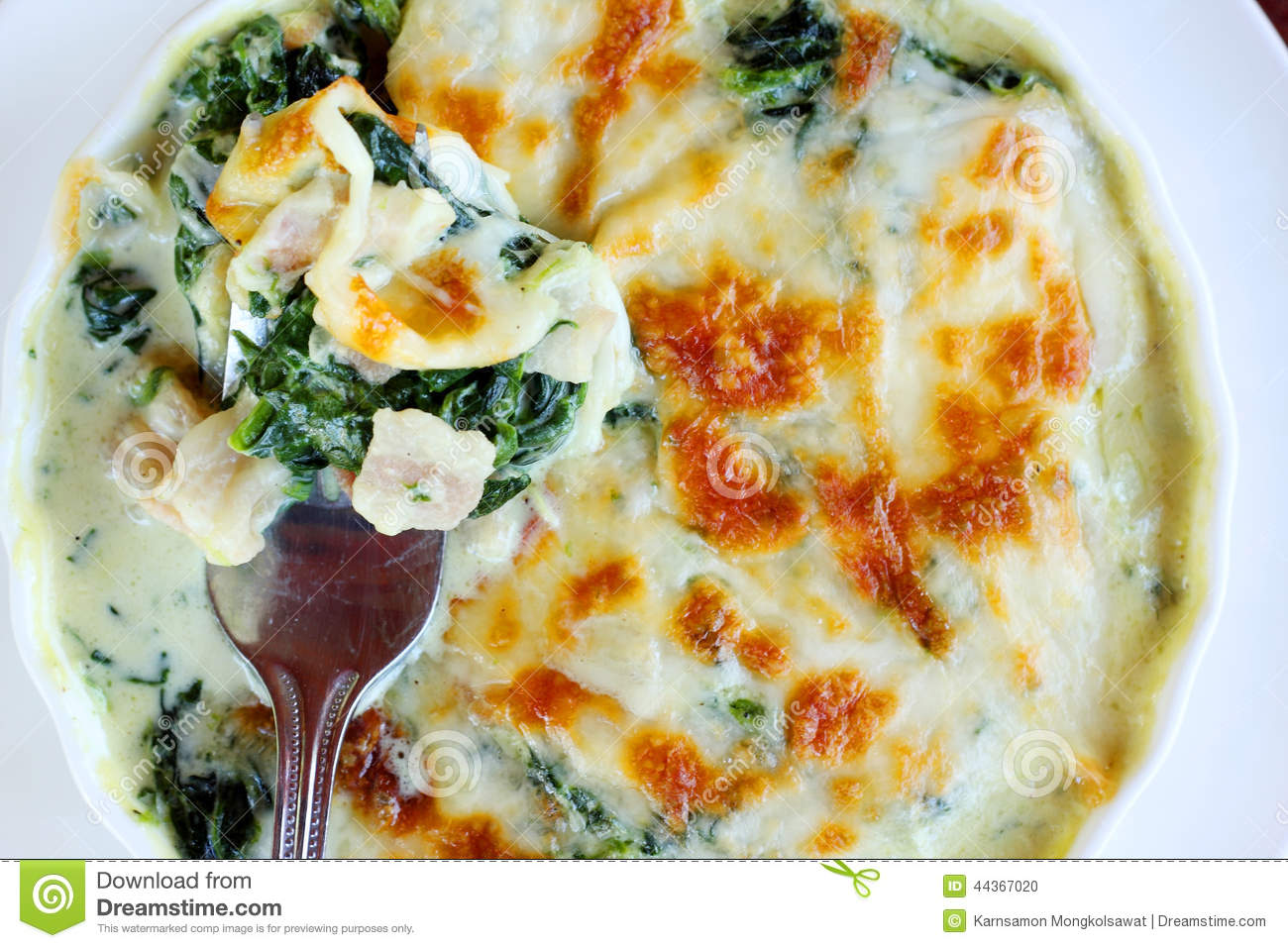 Baked Spinach With Cheese. Stock Photo - Image: 44367020