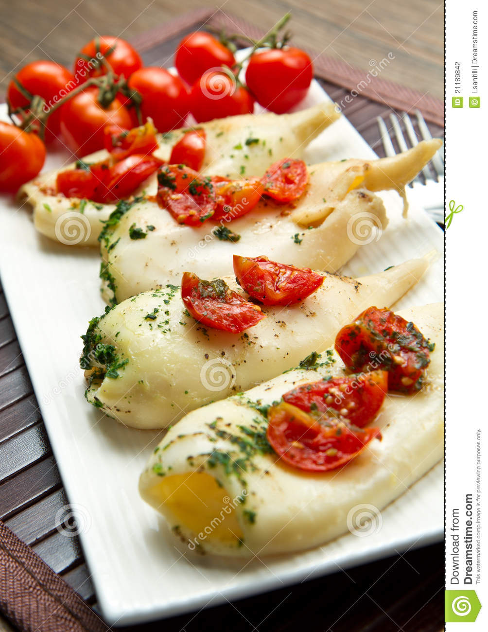 Baked squid