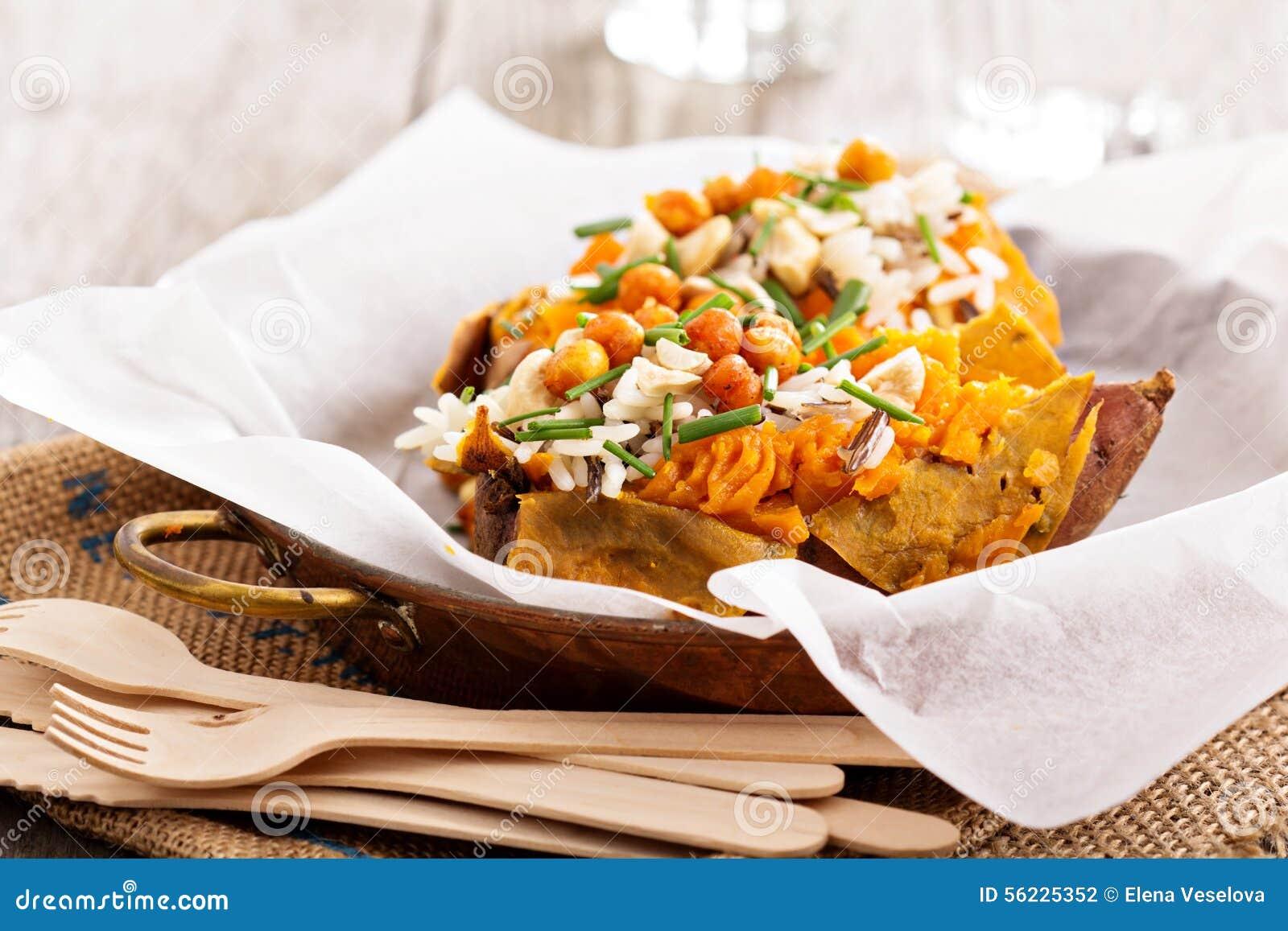 Baked stuffed sweet potato with rice
