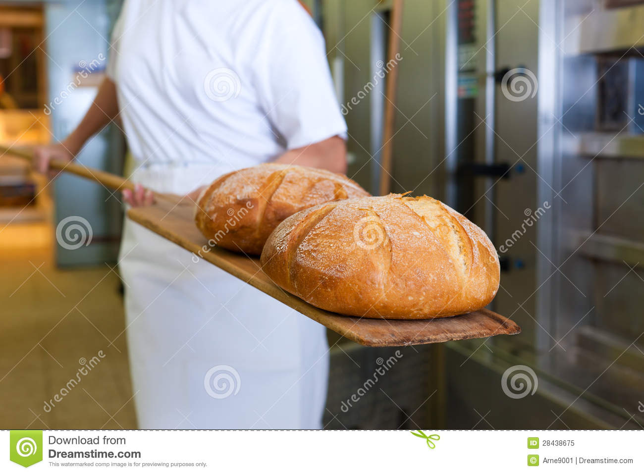 Baker baking bread showing the product
