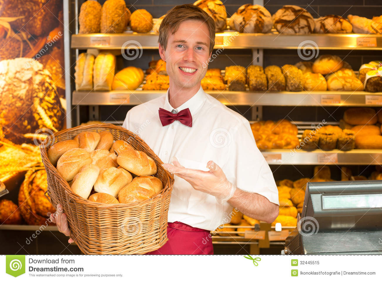 baker with basket full of bread in a bakery royalty free Train Station Signs Gas Station Clip Art