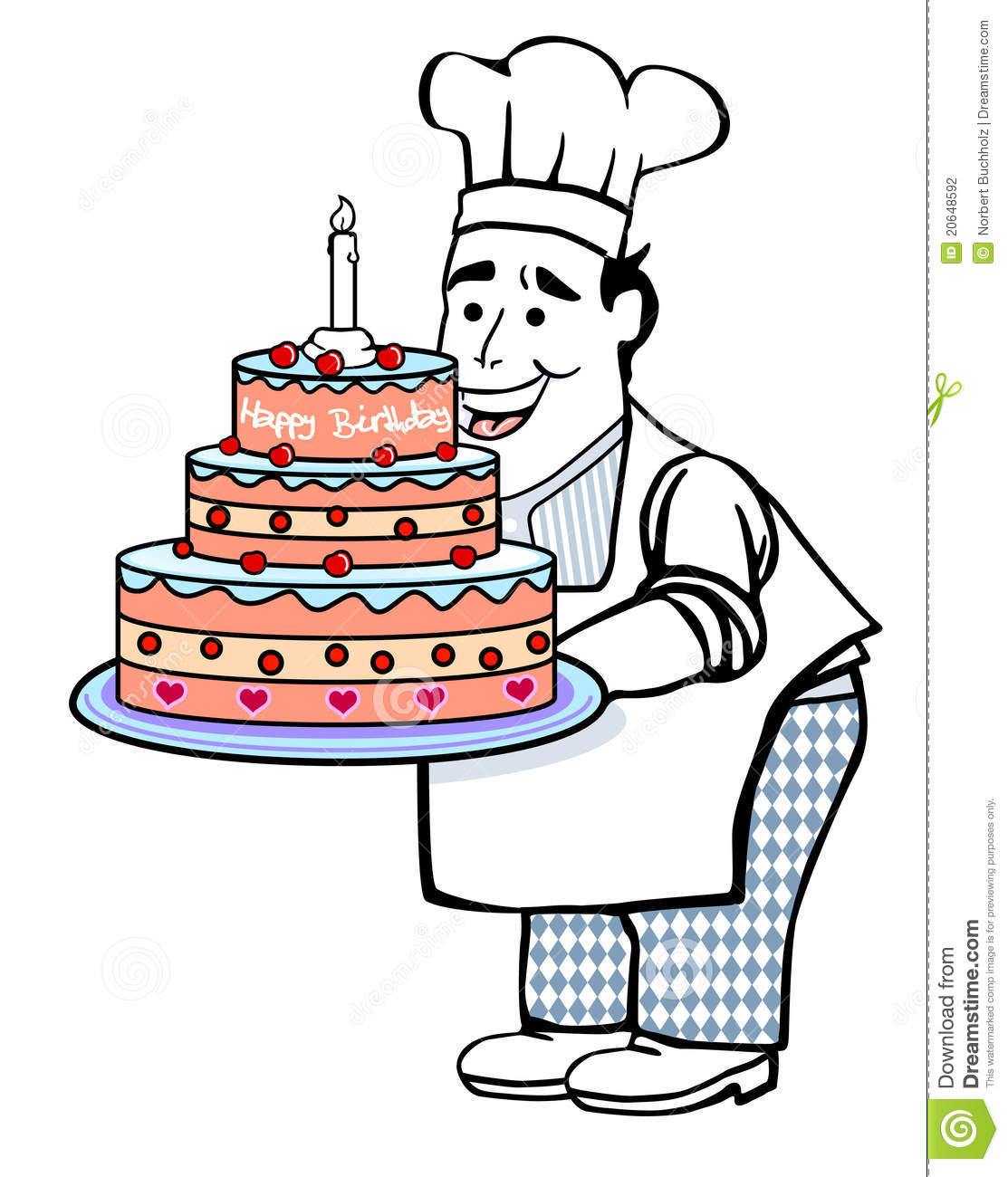 Baker With Birthday Cake Stock Photography Image 20648592
