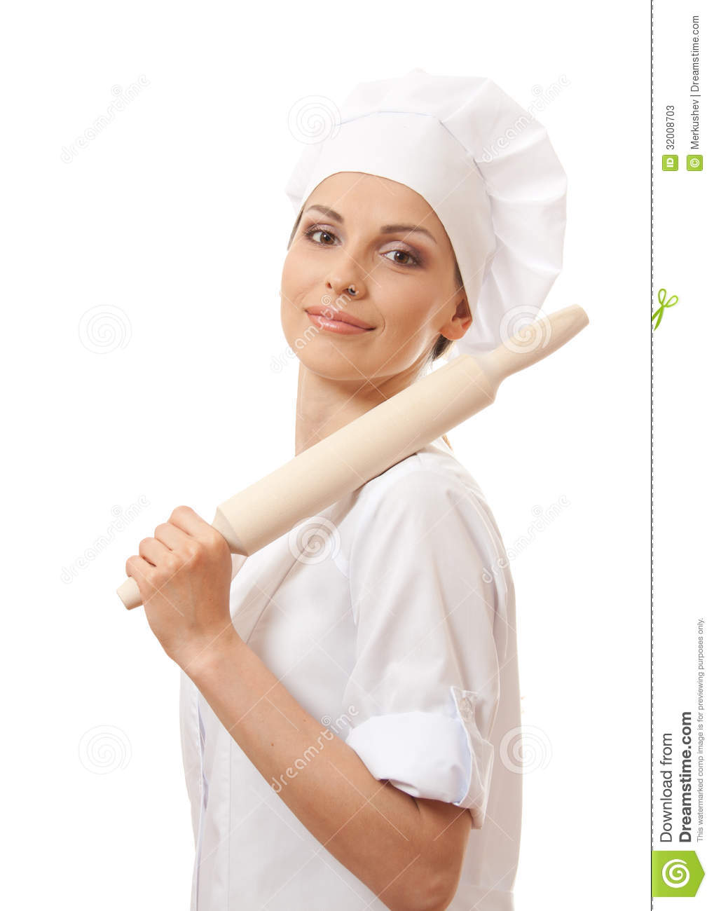 Baker Chef Woman Holding Baking Rolling Pin Isolated White Mr Bread