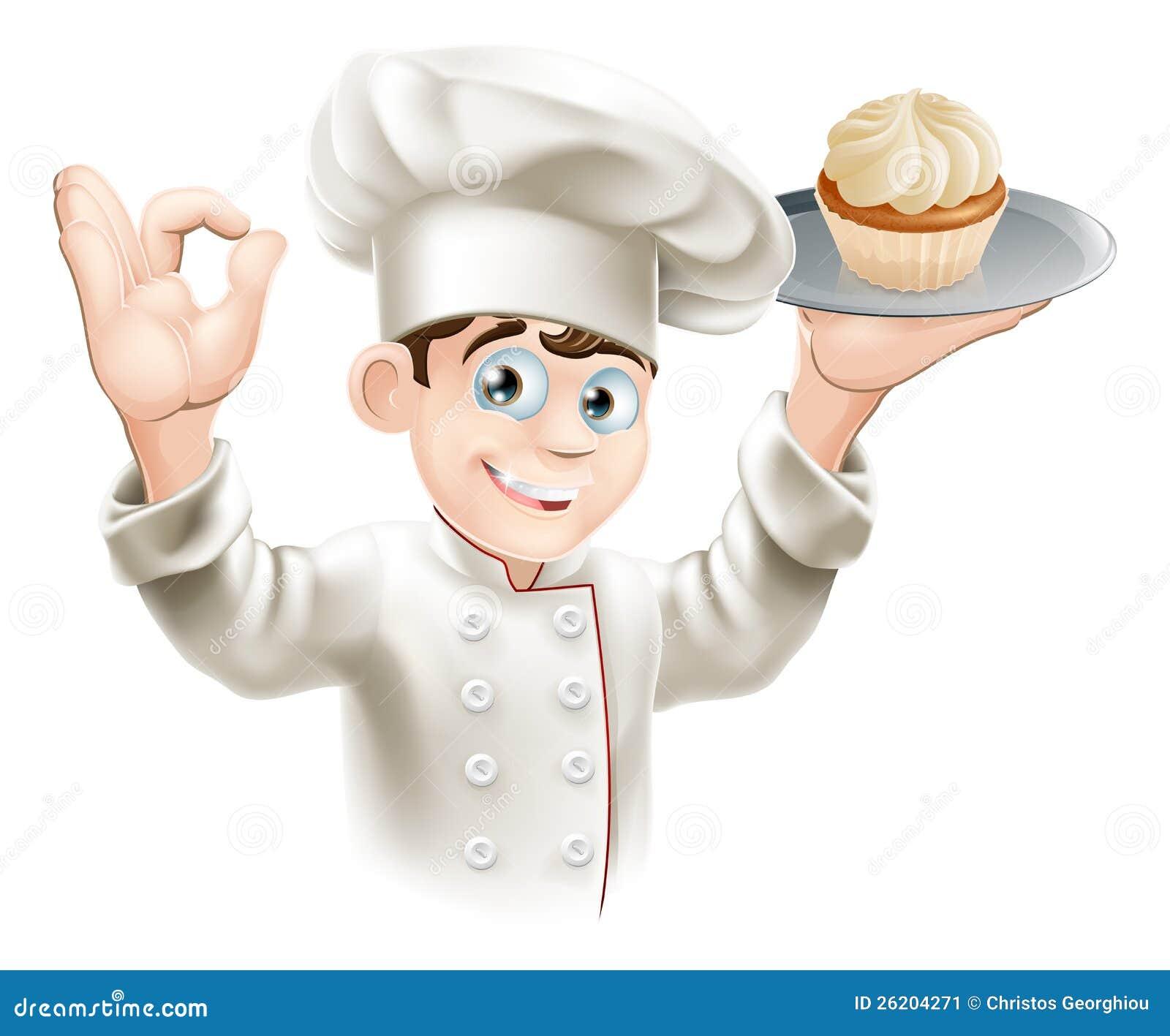 Baker Cupcake Mr Chef Holding Bread