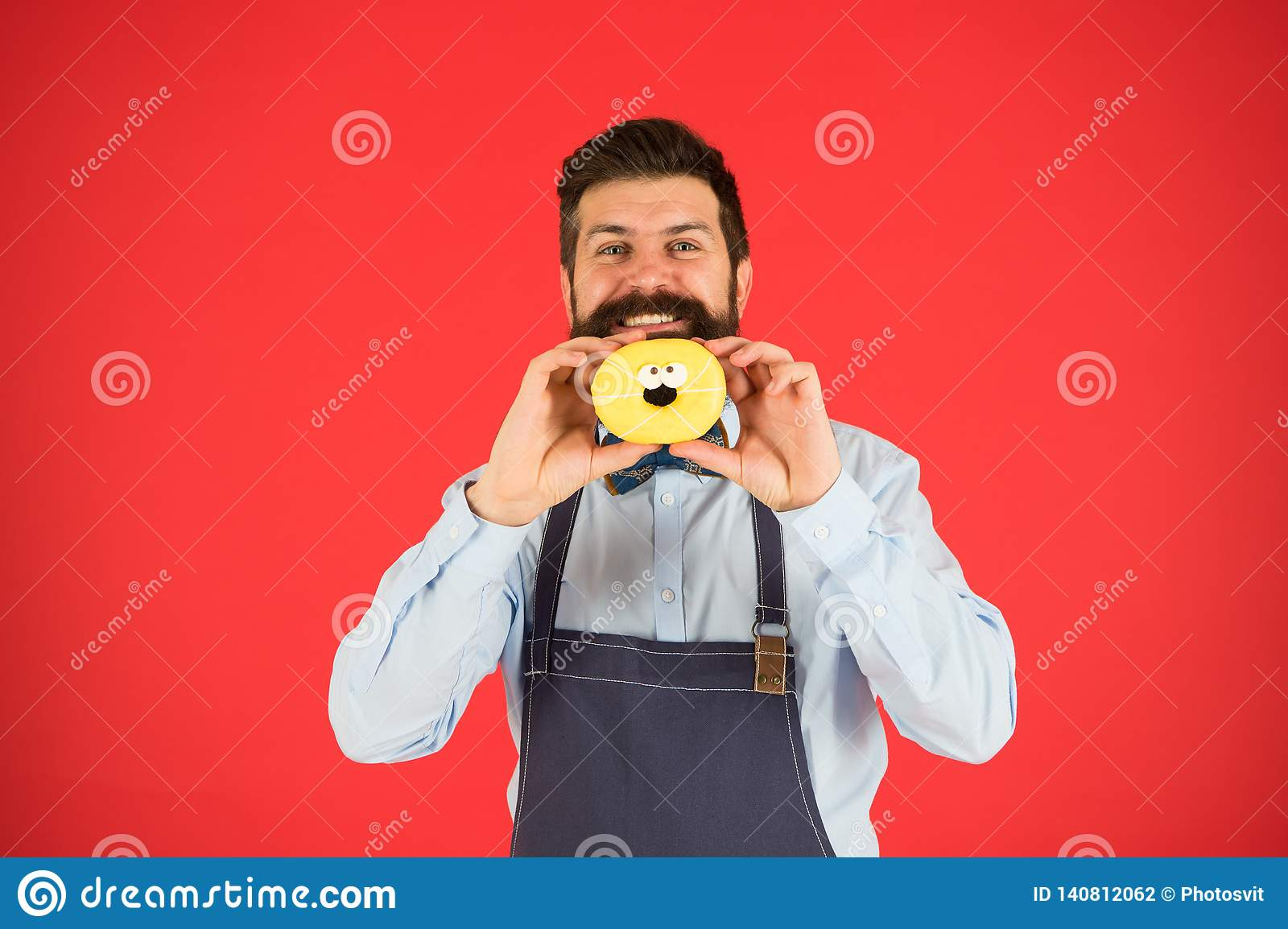 Baker greepdoughnut Grappige hipster Zoete Doughnut Chef-kokmens in koffie Dieet en gezond voedsel Doughnutdieet calorie voel