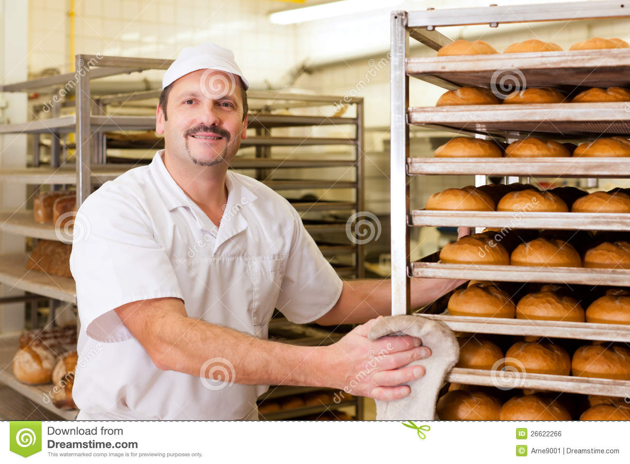 Baker In His Bakery Baking Bread Stock Photo Image Of