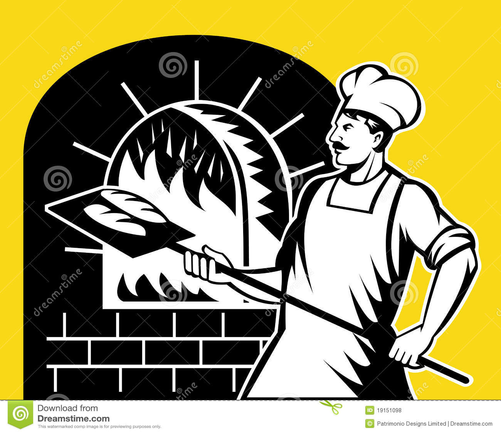 Baker Holding Baking Pan Fire Oven Stock Illustration